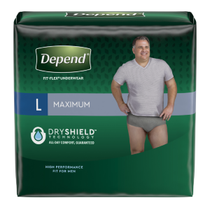 Depend® Fit-Flex® small medium size with maximum absorbency for men