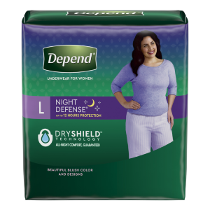 Depend® Night Defense® underwear with overnight absorbency for women