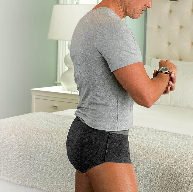 Depend Real Fit Briefs Small Black Landscape Tablet Image.