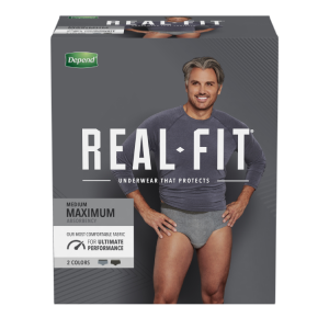 Depend® Real-Fit® underwear that protects with maximum absorbency for men