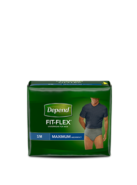 Depend Fit Flex Underwear Product Packaging.