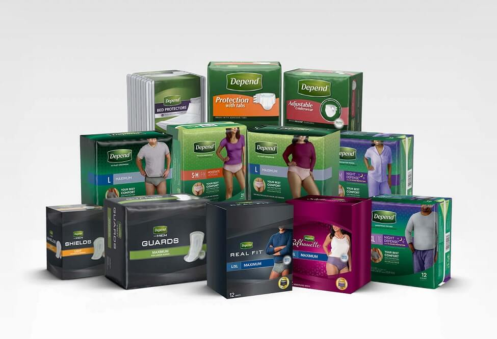 A large variety of Depend® Incontinence products for Men and Woman