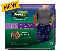 14 count package of Depend Night Defense Underwear for Men