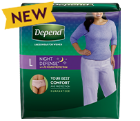 All Night Rest with Depend Night Defense Underwear for Women