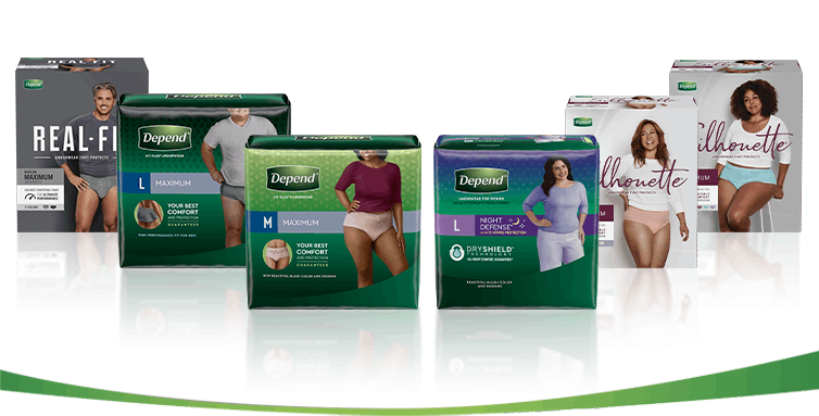 Depend Product pack image for mobile